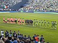 SoundersFC vs FC Barcelona January 2010 teams lineup.JPG