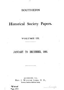 Southern Historical Society Papers volume 09.djvu