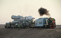Soyuz TMA-16 launch vehicle being transported to pad
