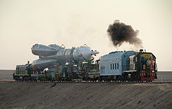 Soyuz TMA-16 launch vehicle being transported to pad.jpg