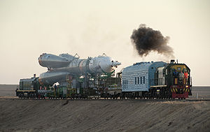 Baikonur Cosmodrome - Soyuz TMA-16 launch vehicle being transported to launchpad at Baikonur in 2009.