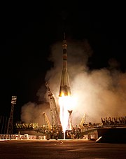 Soyuz TMA-21 launches from the Baikonur Cosmodrome.jpg