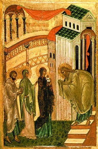 Presentation of Jesus at the Temple - Meeting of the Lord, Russian Orthodox icon, 15th century.