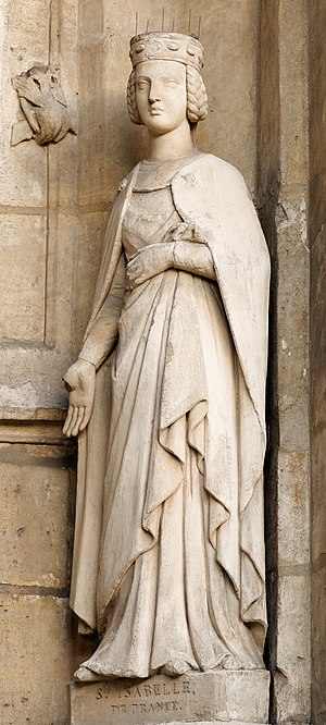 Isabelle of France (saint) - St. Isabelle at the Church of Saint-Germain l'Auxerrois in Paris, a neo-gothic replica of the original statue