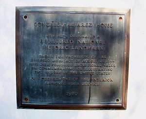 González–Alvarez House - Image: St Aug NHL Gonzalez Alvarez plaque NHL01