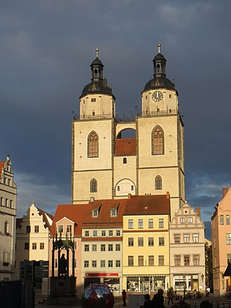 Stadtkirche Wittenberg - The Stadtkirche from the market square, 2015