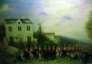 Stamford Bull Run - A painting showing the 5th Dragoon Guards heading down the Great North Road to suppress the bull run in 1839