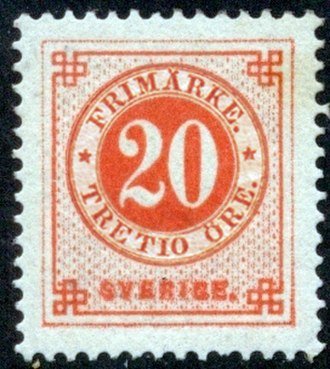 Postage stamps and postal history of Sweden - An 1879 stamp of Sweden.