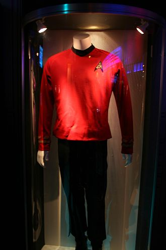 "Star Trek uniforms - The ""red shirt"" worn by security personnel who often got killed in the Original Series"
