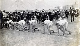 Start of the final heat of the 60 meter run at the 1904 Olympics.jpg
