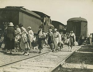 Beenleigh railway line - Image: State Lib Qld 1 251348 Women loaded with parcels and cases, leaving a train via the tracks