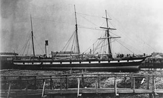 SS Gothenburg - SS Gothenburg docked at Port Adelaide wharf after her lengthening in 1873.