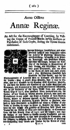 Lo Statuto di Anna entrò in vigore nel 1710