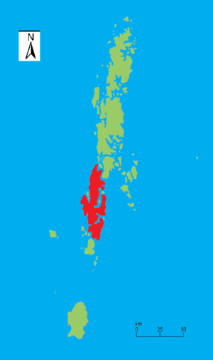 South Andaman Island - Outline map of the Andaman Islands, with the location of South Andaman Island highlighted (in red)