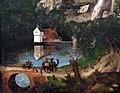 Stile di joachim patinir, san girolamo in au paesaggio, 1525-50 ca. 02 casetta su lago e ponte con viandanti.jpg