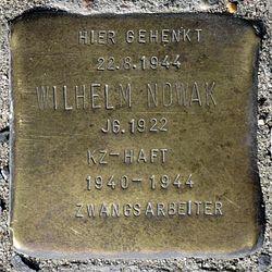 Photo of Wilhelm Nowak brass plaque