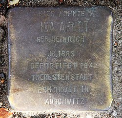 Photo of Ida Arndt brass plaque