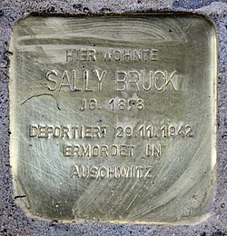 Photo of Sally Bruck brass plaque