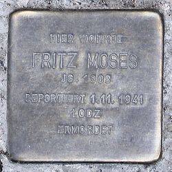 Photo of Fritz Moses brass plaque