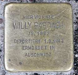 Photo of Willy Bardach brass plaque