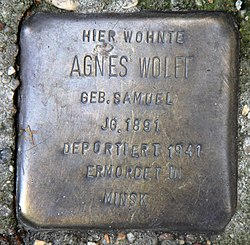 Photo of Agnes Wolff brass plaque