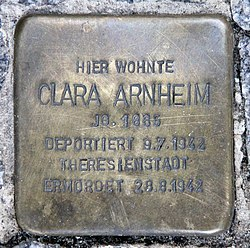 Photo of Clara Arnheim brass plaque