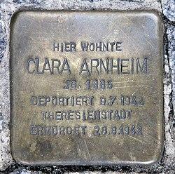 Photo of Clara Arnheim brass plaque