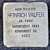 Stolperstein Schleusenstraße 15 Valfer Heinrich