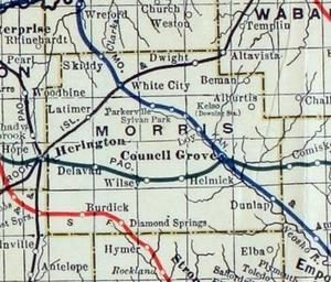 Morris County, Kansas - 1915-1918 railroad map of Morris County