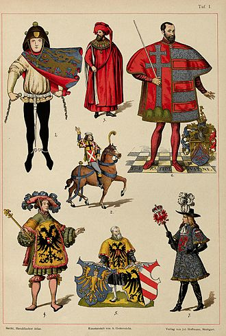 Herald - Pictures of heralds from the 14th-17th Century, from H. Ströhl's Heraldischer Atlas.