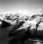 Surprise Glacier, terminus of valley glacier on the left, hanging glaciers on the right, September 3, 1966 (GLACIERS 5062).jpg