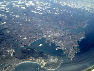 Botany Bay - Aerial photo of Sydney showing Botany Bay in the foreground.