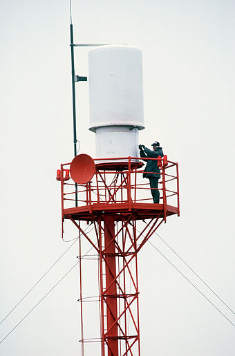 TACAN antenna at Shemya, Alaska. - Tactical air navigation system