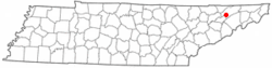 Location of Rogersville, Tennessee