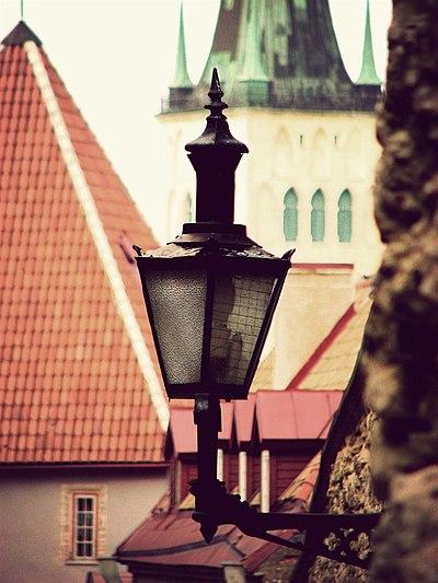 Traditional street lantern in the old town of tallinn estonia