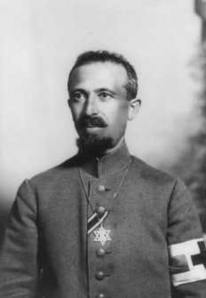 Aaron Tänzer -  Aaron Tänzer during World War I, with the ribbon of the Iron Cross and a Star of David, 1917