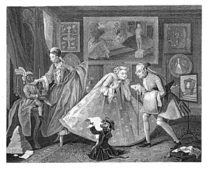 Taste (sociology) - Taste in High Life, original painting 1742, Hogarth engraving 1746