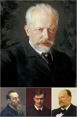 A large portrait of a man with grey hair and a beard, above three smaller portraits of a middle-aged man with glasses and a long bears, a young man with reddish brown hair, and a man with balding hair and a mustache. The portraits in this image are part of the full portraits shown later in the article.