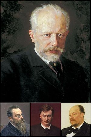Pyotr Ilyich Tchaikovsky and the Belyayev circle - Top: Pyotr Ilyich Tchaikovsky. Bottom (left to right): Nikolai Rimsky-Korsakov, Alexander Glazunov and Anatoly Lyadov