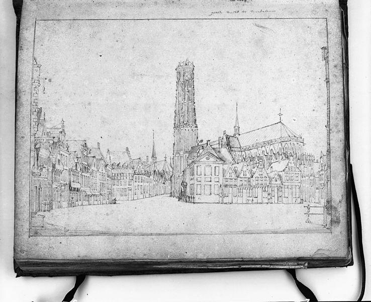 File:Tekening overzicht Grote Markt, reproductie uit schetsboek Dirk Verrijk in bezit van gemeente museum te Arnhem - Mechelen - 20318408 - RCE.jpg