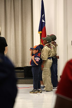 Scout sign and salute - Image: Texas Cub Scouts Saluting