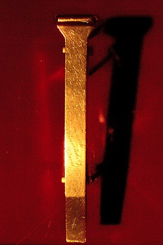 "Golden spike - The original ""golden spike"", on display at the Cantor Arts Museum at Stanford University"