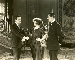 The Frisky Mrs. Johnson - Jean De Briac, Billie Burke and Ward Crane in the film.