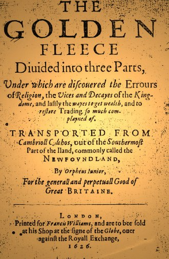 William Vaughan (writer) - Title page from The Golden Fleece (1626).