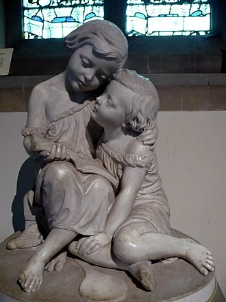 Chilham Castle - The Hardy Children, monument in St. Mary's church. The book shows an illustration from Babes in the Wood