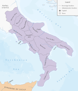 The territory of the Kingdom of Naples in 1454