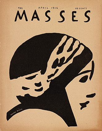 The Masses - The Masses (cover), April 1916, A sketch by Frank Walts of Mary Fuller, star of The Heart of a Mermaid (Lucius J. Henderson, 1916)