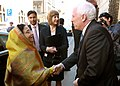 The President, Smt. Pratibha Devisingh Patil being welcomed by the Rector of Jagiellonian University, Mr. Musion on her arrival at 2nd oldest European University, in Krakow, Poland on April 25, 2009.jpg