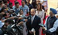 The President of Mexico, Mr. Felipe Calderon Hinojosa, the President, Smt. Pratibha Patil and the Prime Minister, Dr. Manmohan Singh interacting with media at a ceremonial reception, in New Delhi on September 10, 2007.jpg