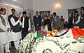 The Prime Minister, Dr. Manmohan Singh, paying homage at the mortal remains of the former Prime Minister, Shri V P Singh, in New Delhi on November 28, 2008.jpg